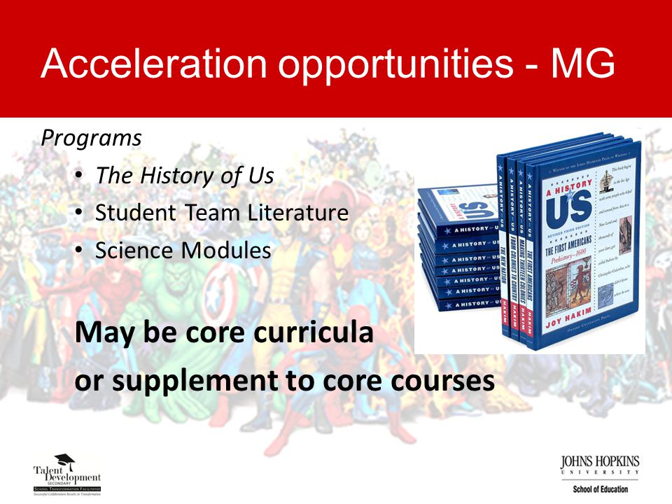 Acceleration opportunities - MG Programs The History of Us Student Team Literature Science Modules May be core curricula or supplement to core courses