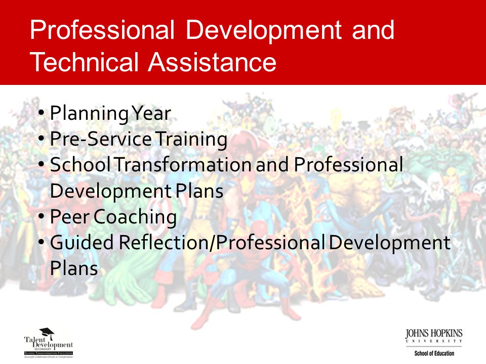 Professional Development and Technical Assistance Planning Year Pre-Service Training School Transformation and Professional Development Plans Peer Coaching Guided Reflection/Professional Development Plans