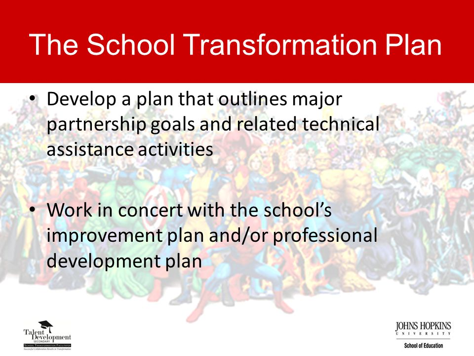 The School Transformation Plan Develop a plan that outlines major partnership goals and related technical assistance activities Work in concert with the school's improvement plan and/or professional development plan