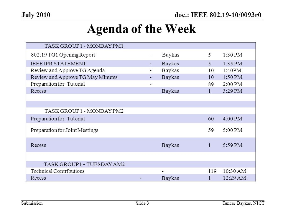 doc.: IEEE /0093r0 Submission Agenda of the Week July 2010 Tuncer Baykas, NICTSlide 3 TASK GROUP 1 - MONDAY PM TG1 Opening Report -Baykas 51:30 PM IEEE IPR STATEMENT -Baykas51:35 PM Review and Approve TG Agenda -Baykas101:40PM Review and Approve TG May Minutes -Baykas101:50 PM Preparation for Tutorial -892:00 PM RecessBaykas13:29 PM TASK GROUP 1 - MONDAY PM2 Preparation for Tutorial604:00 PM Preparation for Joint Meetings595:00 PM RecessBaykas15:59 PM TASK GROUP 1 - TUESDAY AM2 Technical Contributions :30 AM Recess -Baykas112:29 AM