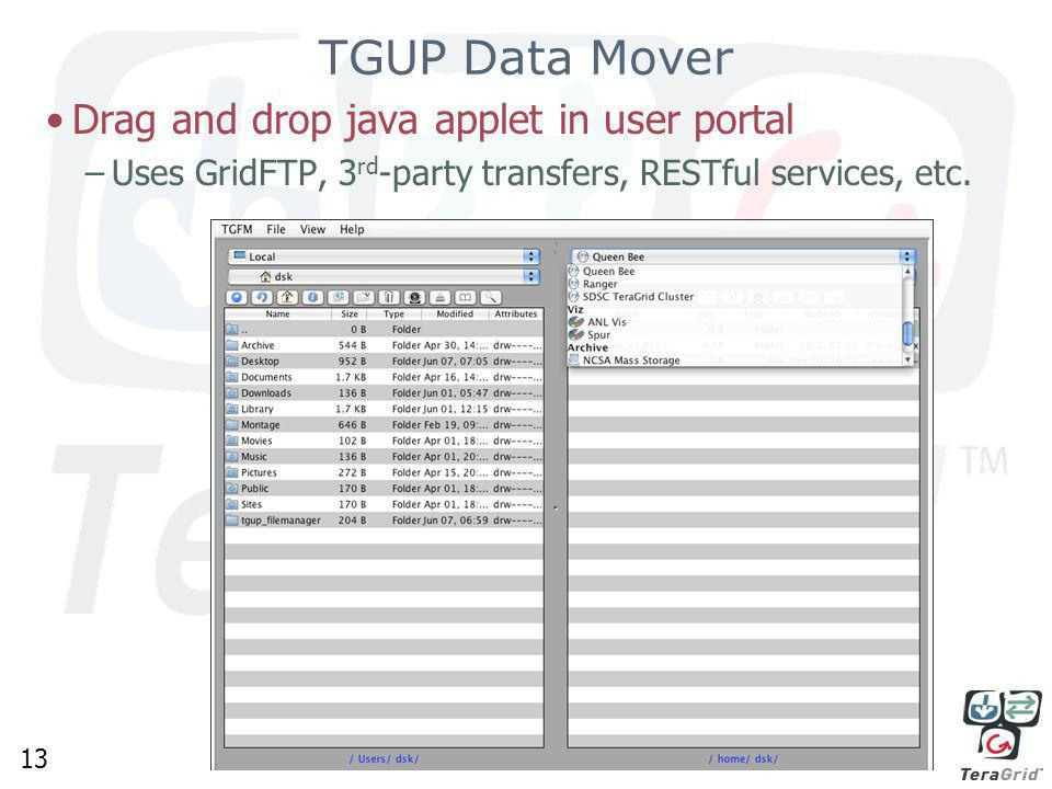 13 TGUP Data Mover Drag and drop java applet in user portal –Uses GridFTP, 3 rd -party transfers, RESTful services, etc.