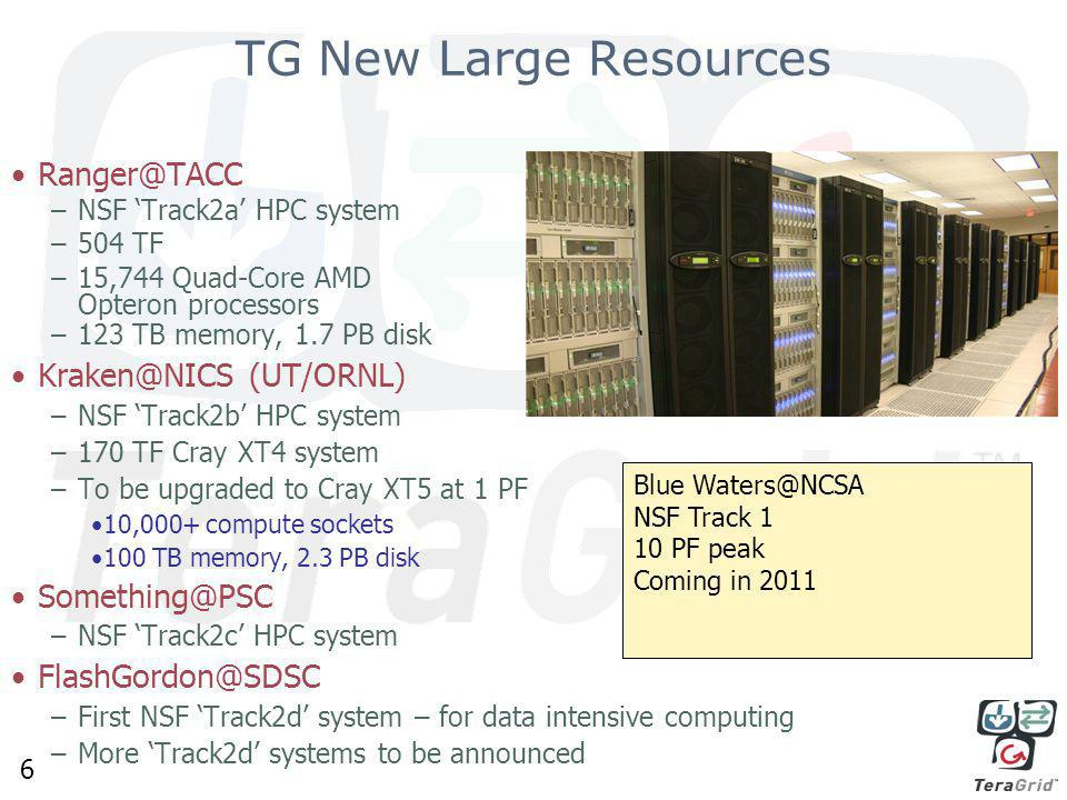 6 Ranger@TACC –NSF 'Track2a' HPC system –504 TF –15,744 Quad-Core AMD Opteron processors –123 TB memory, 1.7 PB disk Kraken@NICS (UT/ORNL) –NSF 'Track2b' HPC system –170 TF Cray XT4 system –To be upgraded to Cray XT5 at 1 PF 10,000+ compute sockets 100 TB memory, 2.3 PB disk Something@PSC –NSF 'Track2c' HPC system FlashGordon@SDSC –First NSF 'Track2d' system – for data intensive computing –More 'Track2d' systems to be announced TG New Large Resources Blue Waters@NCSA NSF Track 1 10 PF peak Coming in 2011