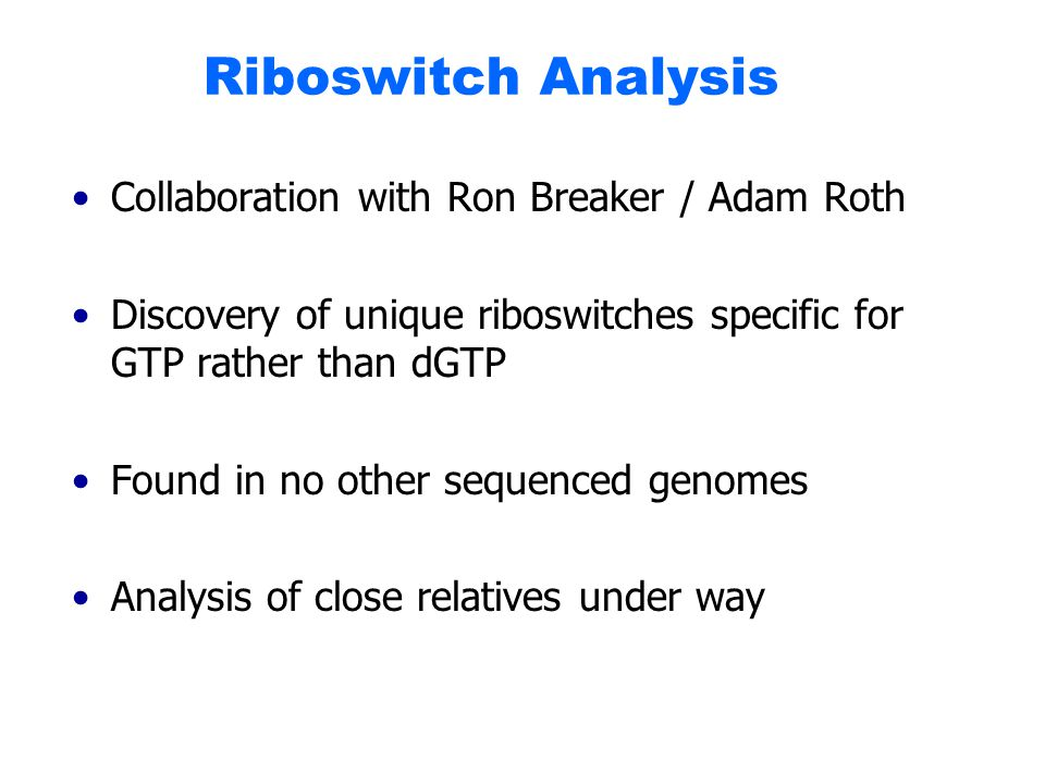 Riboswitch Analysis Collaboration with Ron Breaker / Adam Roth Discovery of unique riboswitches specific for GTP rather than dGTP Found in no other sequenced genomes Analysis of close relatives under way