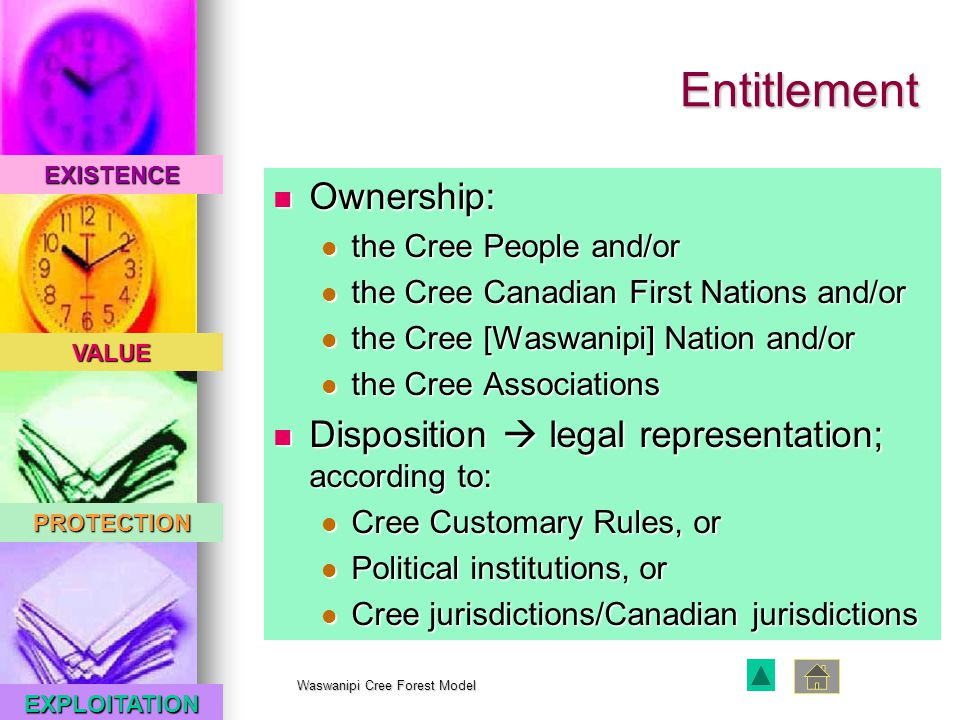 EXISTENCE VALUE PROTECTION EXPLOITATION Waswanipi Cree Forest Model Entitlement Ownership: Ownership: the Cree People and/or the Cree People and/or the Cree Canadian First Nations and/or the Cree Canadian First Nations and/or the Cree [Waswanipi] Nation and/or the Cree [Waswanipi] Nation and/or the Cree Associations the Cree Associations Disposition  legal representation; according to: Disposition  legal representation; according to: Cree Customary Rules, or Cree Customary Rules, or Political institutions, or Political institutions, or Cree jurisdictions/Canadian jurisdictions Cree jurisdictions/Canadian jurisdictions