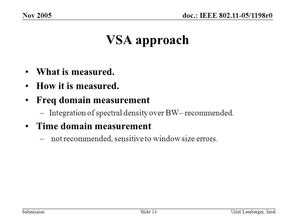 doc.: IEEE 802.11-05/1198r0 Submission Nov 2005 Uriel Lemberger, IntelSlide 14 VSA approach What is measured.
