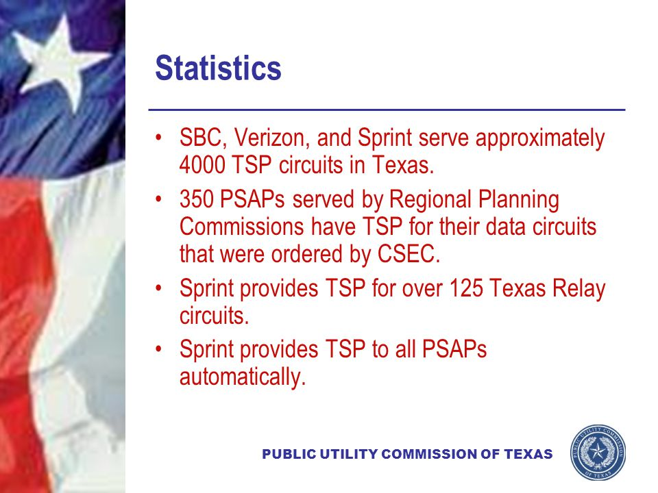 PUBLIC UTILITY COMMISSION OF TEXAS Statistics SBC, Verizon, and Sprint serve approximately 4000 TSP circuits in Texas.
