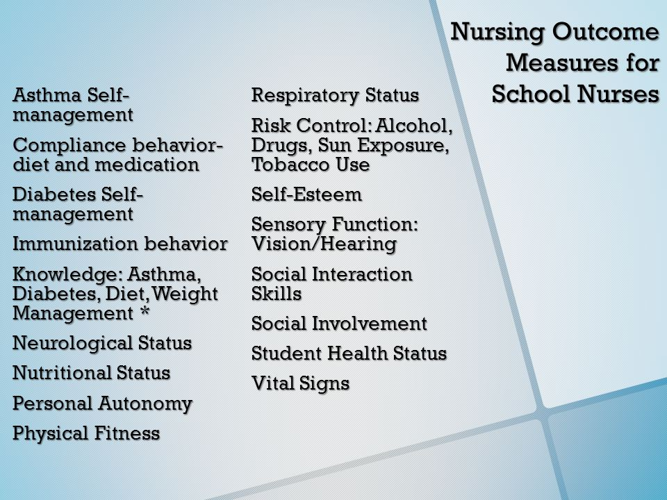 Nursing Outcome Measures for School Nurses Asthma Self- management Compliance behavior- diet and medication Diabetes Self- management Immunization behavior Knowledge: Asthma, Diabetes, Diet, Weight Management * Neurological Status Nutritional Status Personal Autonomy Physical Fitness Respiratory Status Risk Control: Alcohol, Drugs, Sun Exposure, Tobacco Use Self-Esteem Sensory Function: Vision/Hearing Social Interaction Skills Social Involvement Student Health Status Vital Signs