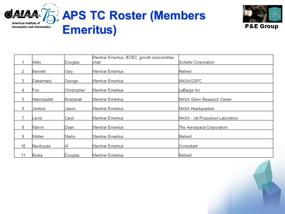 P&E Group APS TC Roster (Members Emeritus) 1AllenDouglas Member Emeritus, IECEC growth subcomittee chairSchafer Corporation 2BennettGaryMember EmeritusRetired 3DakermanjiGeorgeMember EmeritusNASA/GSFC 4FoxChristopherMember EmeritusLaBarge Inc 5HakimzadehRoshanakMember EmeritusNASA Glenn Research Center 6JenkinsJasonMember EmeritusNASA Headquarters 7LewisCarolMember EmeritusNASA - Jet Propulsion Laboratory 8MarvinDeanMember EmeritusThe Aerospace Corporation 9MildenMartinMember EmeritusRetired 10NewhouseAlMember EmeritusConsultant 11RustaDouglasMember EmeritusRetired