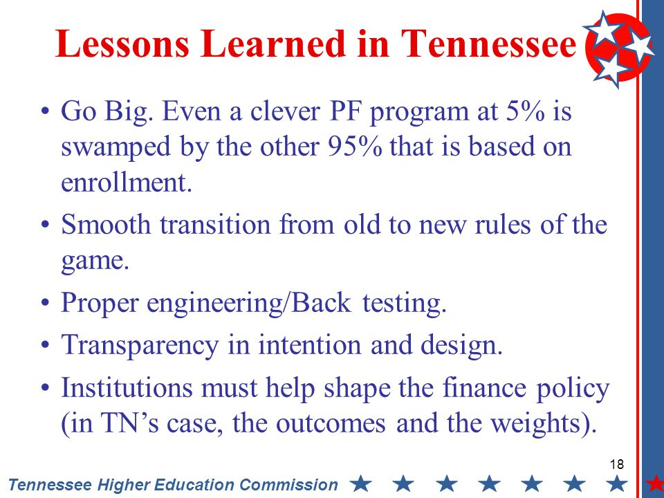 18 Tennessee Higher Education Commission Lessons Learned in Tennessee Go Big.