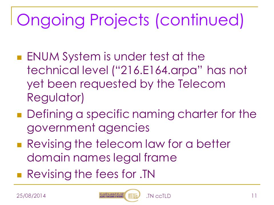 Ongoing Projects (continued) ENUM System is under test at the technical level ( 216.E164.arpa has not yet been requested by the Telecom Regulator) Defining a specific naming charter for the government agencies Revising the telecom law for a better domain names legal frame Revising the fees for.TN 25/08/2014.TN ccTLD 11