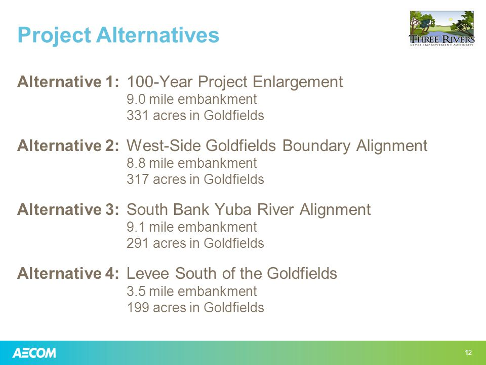 Project Alternatives Alternative 1:100-Year Project Enlargement 9.0 mile embankment 331 acres in Goldfields Alternative 2:West-Side Goldfields Boundary Alignment 8.8 mile embankment 317 acres in Goldfields Alternative 3:South Bank Yuba River Alignment 9.1 mile embankment 291 acres in Goldfields Alternative 4:Levee South of the Goldfields 3.5 mile embankment 199 acres in Goldfields 12