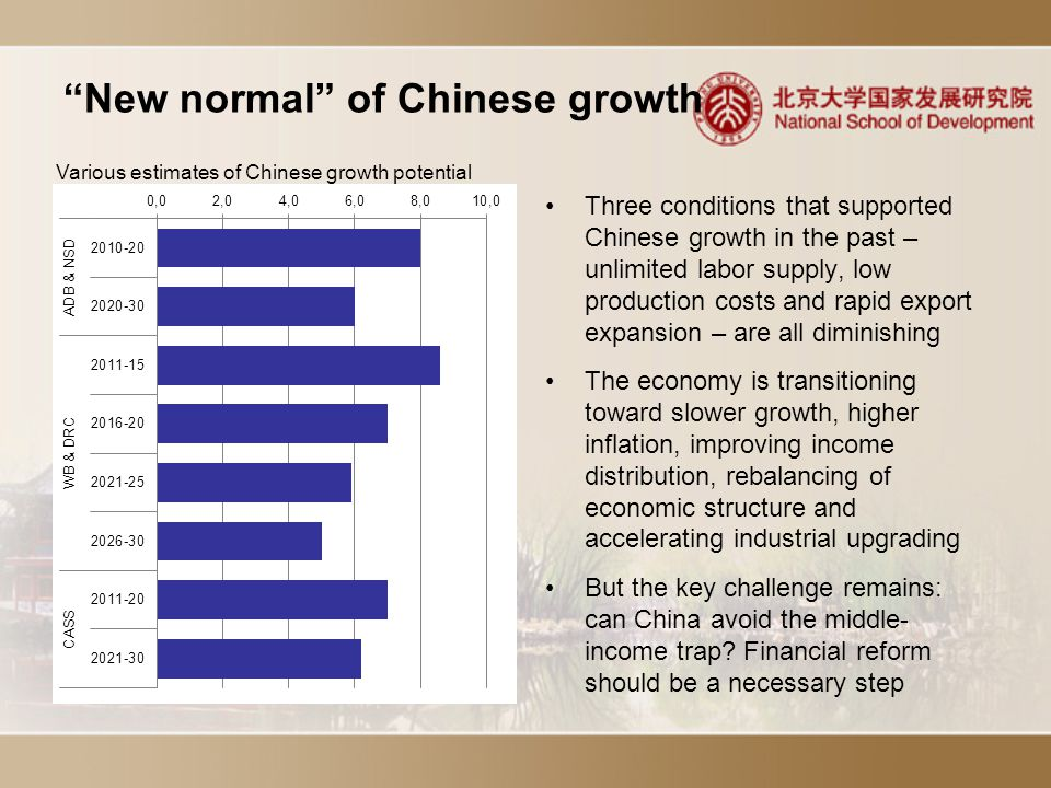 New normal of Chinese growth Three conditions that supported Chinese growth in the past – unlimited labor supply, low production costs and rapid export expansion – are all diminishing The economy is transitioning toward slower growth, higher inflation, improving income distribution, rebalancing of economic structure and accelerating industrial upgrading But the key challenge remains: can China avoid the middle- income trap.
