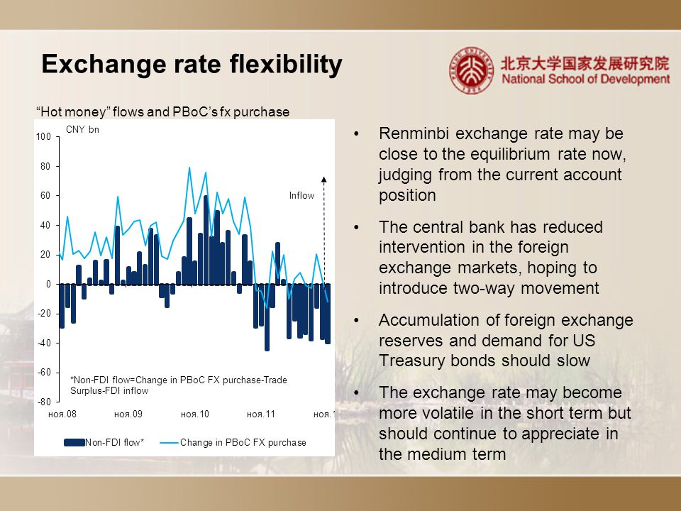 Exchange rate flexibility Renminbi exchange rate may be close to the equilibrium rate now, judging from the current account position The central bank has reduced intervention in the foreign exchange markets, hoping to introduce two-way movement Accumulation of foreign exchange reserves and demand for US Treasury bonds should slow The exchange rate may become more volatile in the short term but should continue to appreciate in the medium term Hot money flows and PBoC's fx purchase