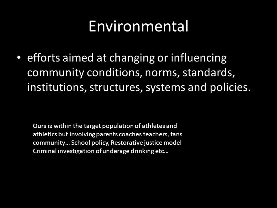 Environmental efforts aimed at changing or influencing community conditions, norms, standards, institutions, structures, systems and policies.