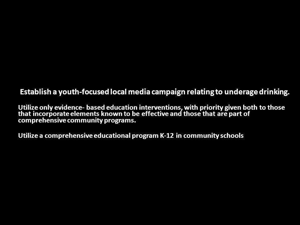 Establish a youth-focused local media campaign relating to underage drinking.