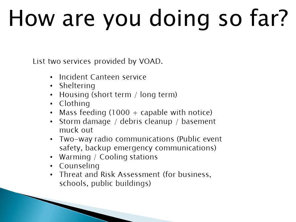 How are you doing so far. List two services provided by VOAD.
