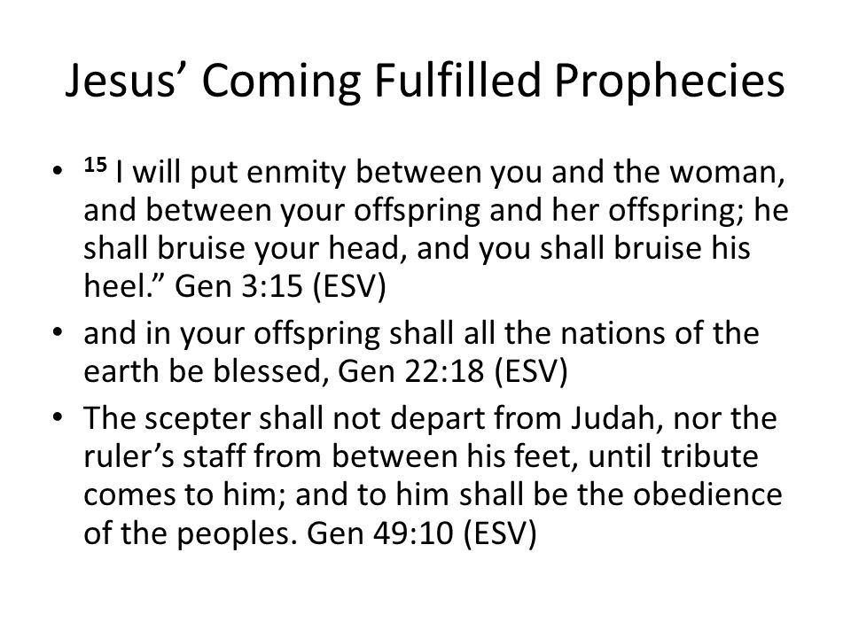 Jesus' Coming Fulfilled Prophecies 15 I will put enmity between you and the woman, and between your offspring and her offspring; he shall bruise your head, and you shall bruise his heel. Gen 3:15 (ESV) and in your offspring shall all the nations of the earth be blessed, Gen 22:18 (ESV) The scepter shall not depart from Judah, nor the ruler's staff from between his feet, until tribute comes to him; and to him shall be the obedience of the peoples.