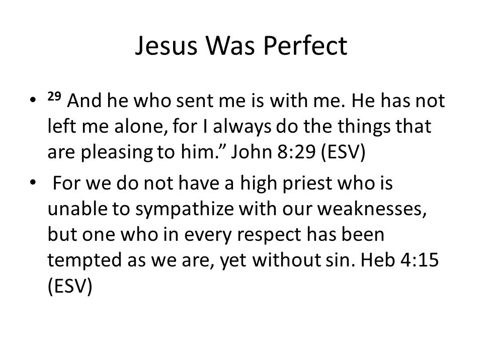 Jesus Was Perfect 29 And he who sent me is with me.