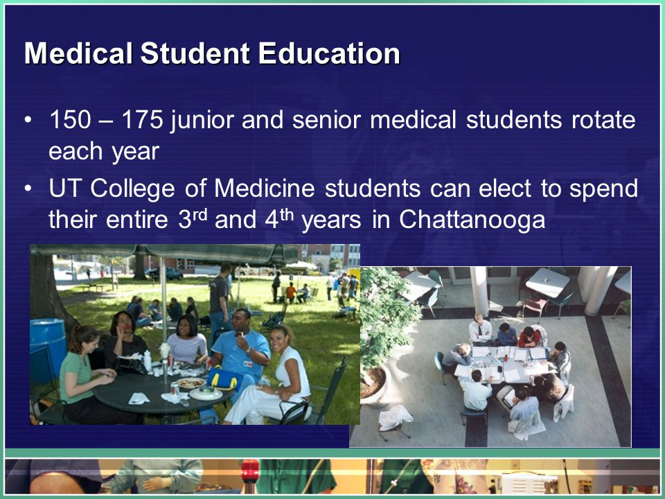 Medical Student Education 150 – 175 junior and senior medical students rotate each year UT College of Medicine students can elect to spend their entire 3 rd and 4 th years in Chattanooga