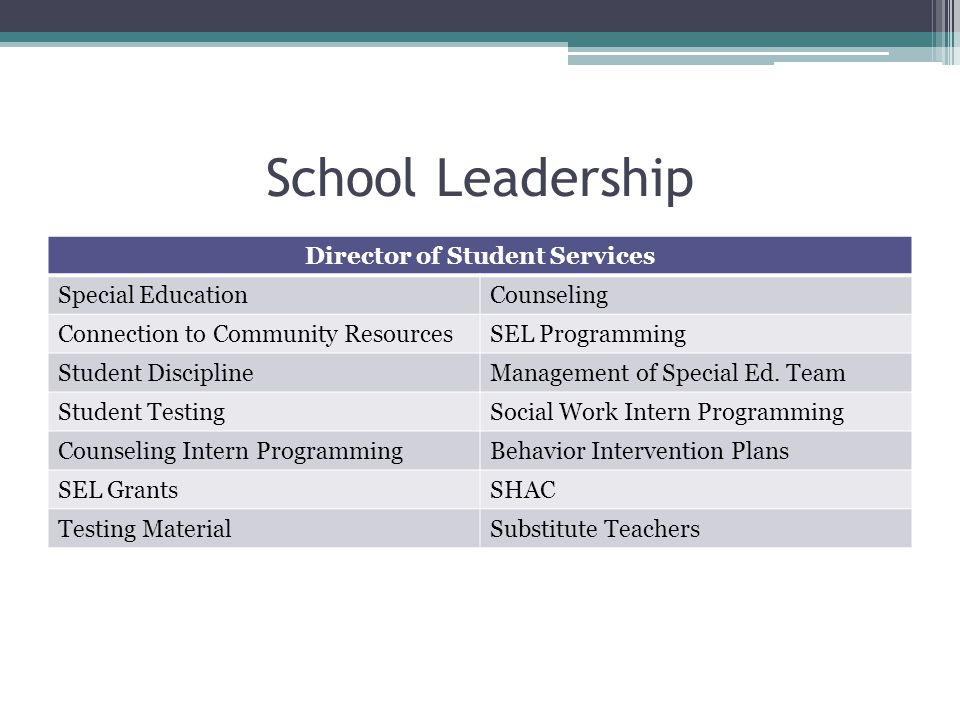 School Leadership Director of Student Services Special EducationCounseling Connection to Community ResourcesSEL Programming Student DisciplineManagement of Special Ed.