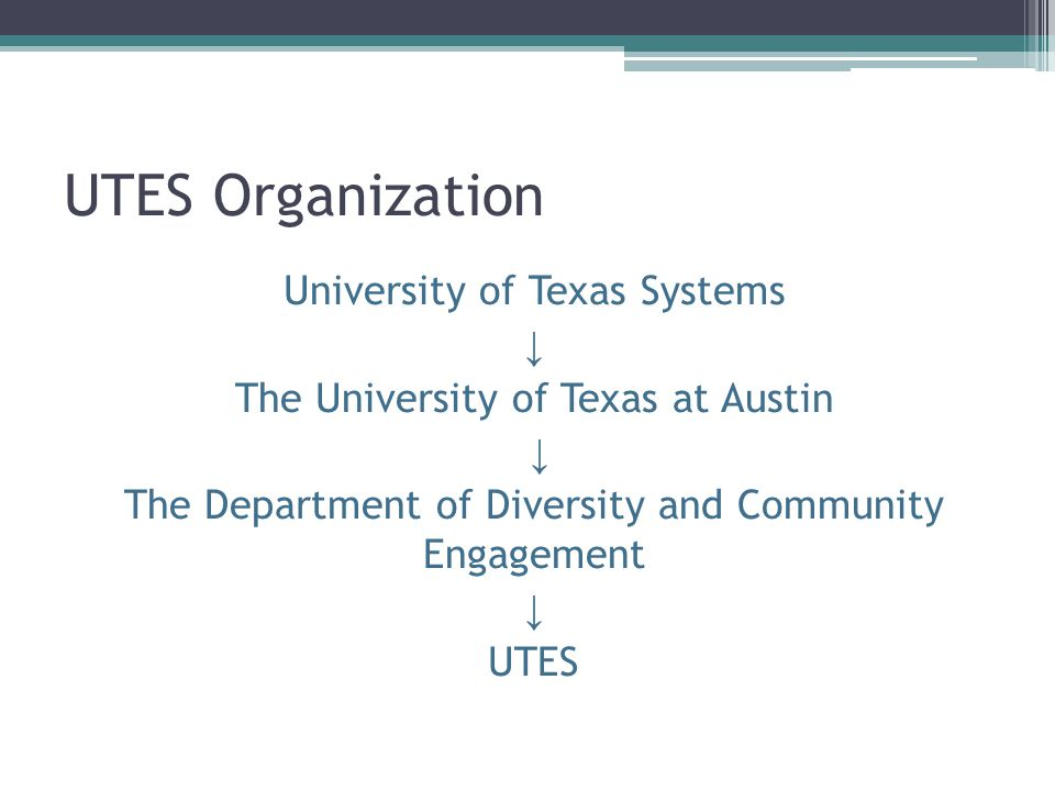 UTES Organization University of Texas Systems ↓ The University of Texas at Austin ↓ The Department of Diversity and Community Engagement ↓ UTES