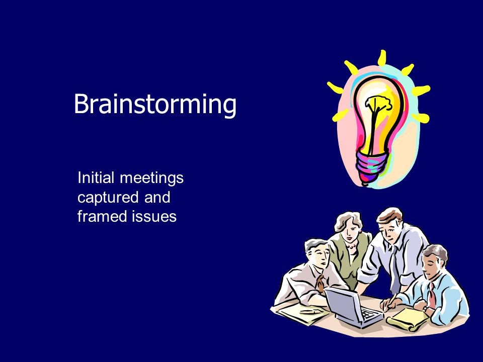 Brainstorming Initial meetings captured and framed issues