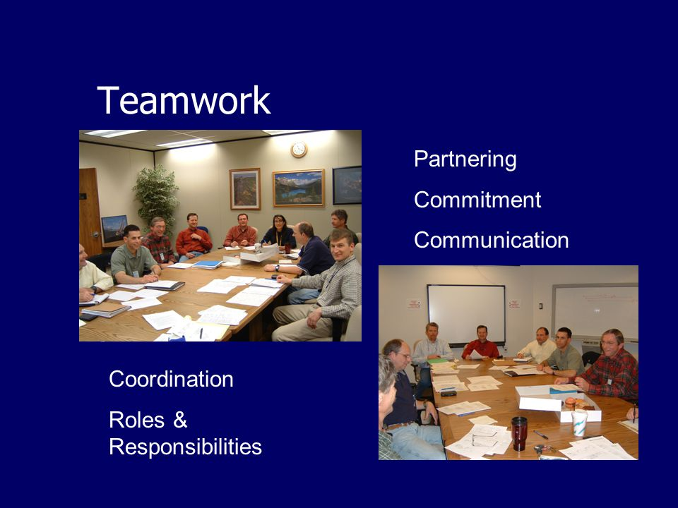 Coordination Roles & Responsibilities Teamwork Partnering Commitment Communication