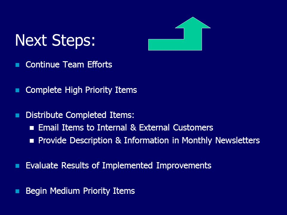 Next Steps: Continue Team Efforts Complete High Priority Items Distribute Completed Items: Email Items to Internal & External Customers Provide Description & Information in Monthly Newsletters Evaluate Results of Implemented Improvements Begin Medium Priority Items