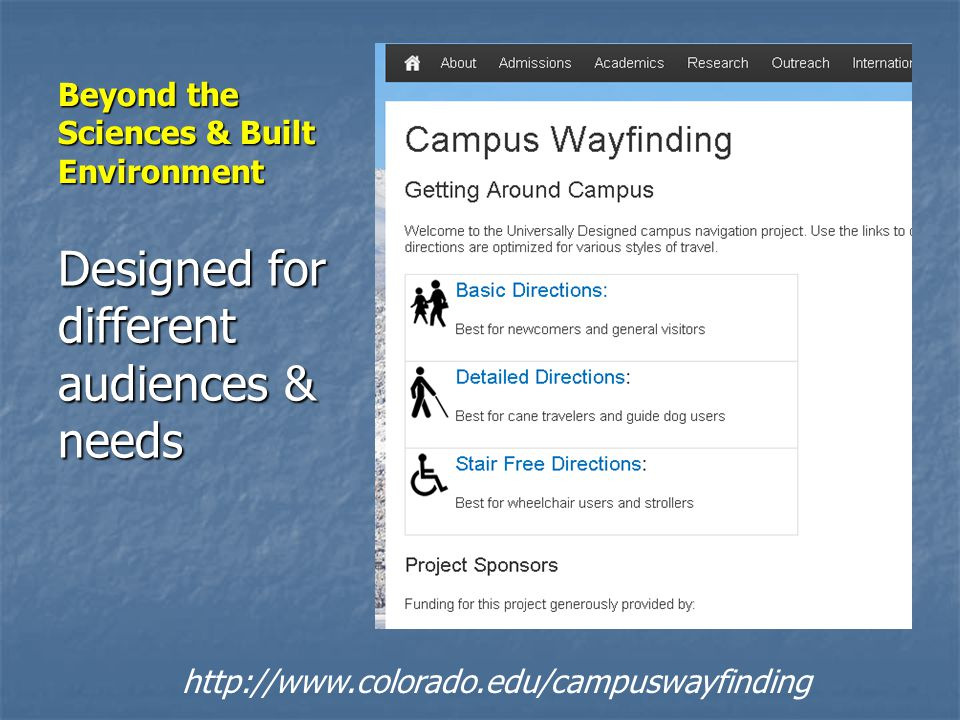 Beyond the Sciences & Built Environment Designed for different audiences & needs http://www.colorado.edu/campuswayfinding
