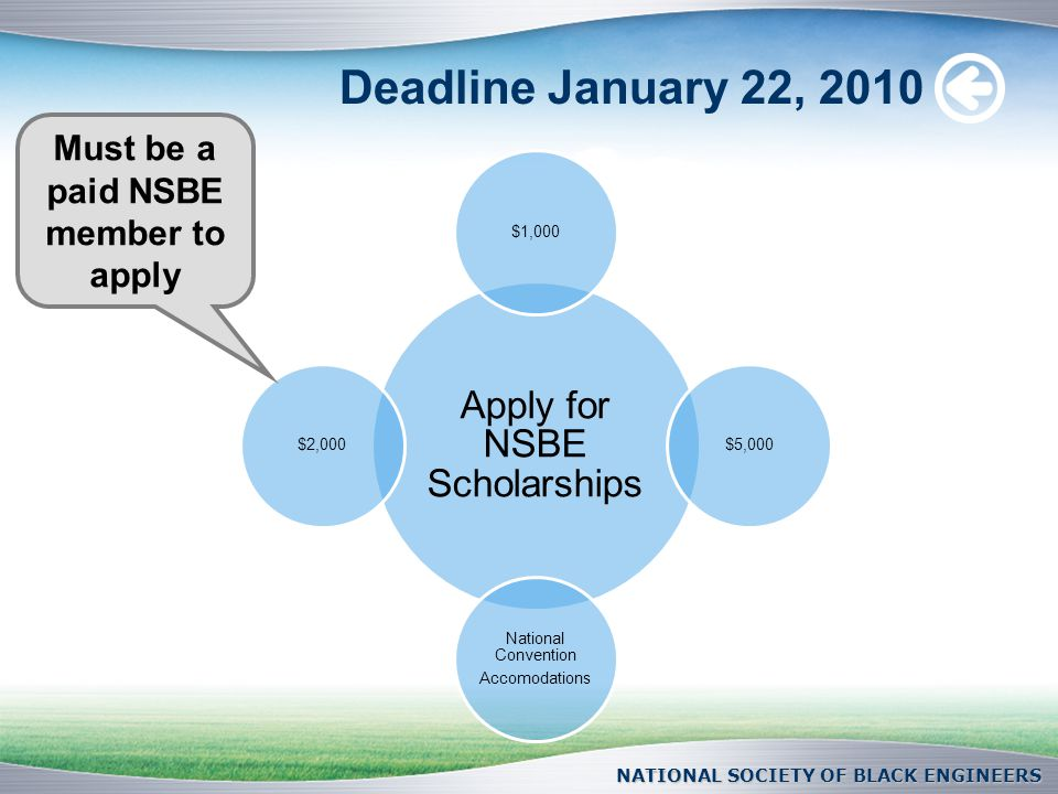 Deadline January 22, 2010 Apply for NSBE Scholarships $1,000$5,000 National Convention Accomodations $2,000 NATIONAL SOCIETY OF BLACK ENGINEERS Must be a paid NSBE member to apply