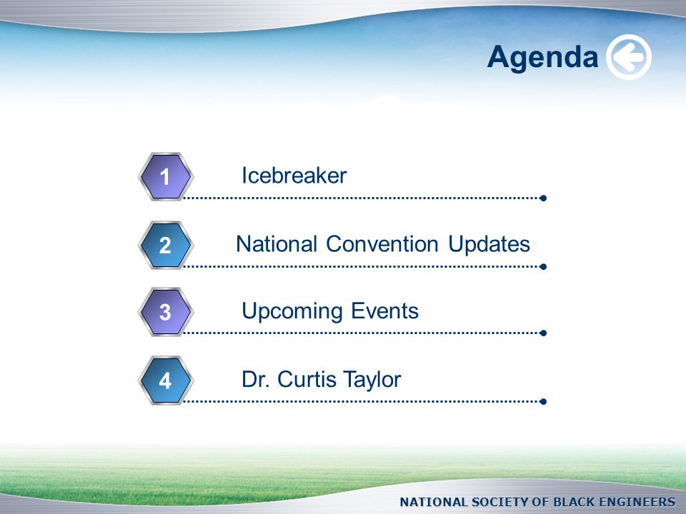 NATIONAL SOCIETY OF BLACK ENGINEERS Agenda Icebreaker 1 National Convention Updates 2 Upcoming Events 3 Dr.