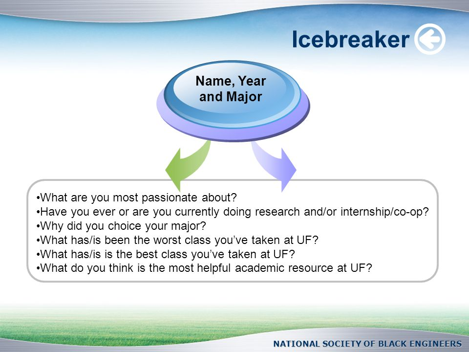 NATIONAL SOCIETY OF BLACK ENGINEERS Icebreaker Name, Year and Major What are you most passionate about.