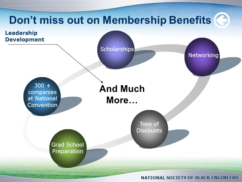Don't miss out on Membership Benefits 300 + companies at National Convention Scholarships Networking Tons of Discounts Grad School Preparation And Much More… Leadership Development