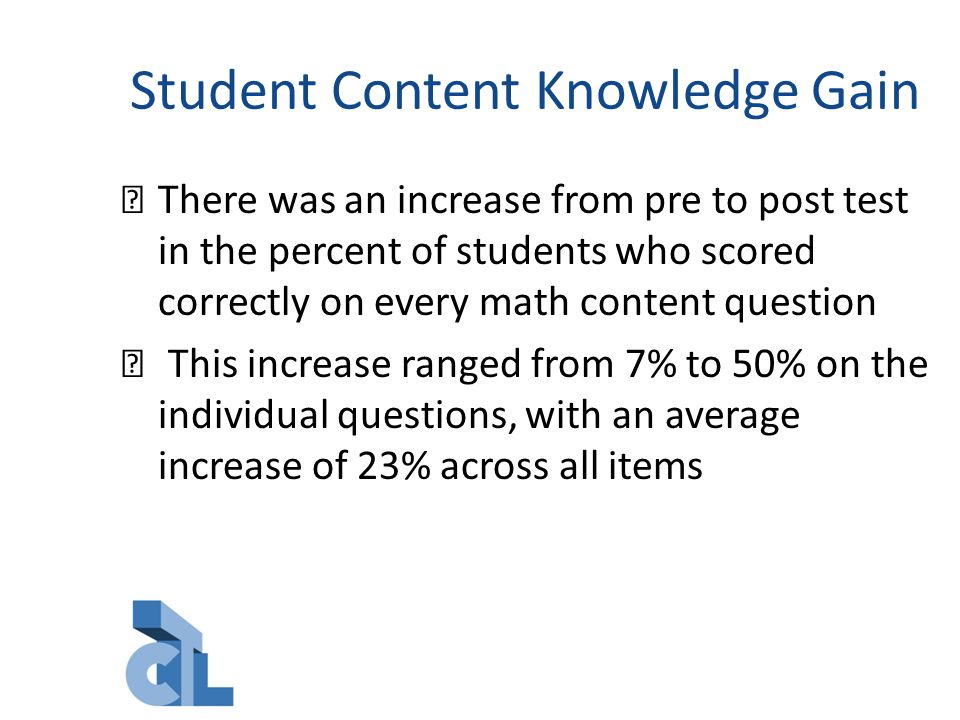 Student Content Knowledge Gain There was an increase from pre to post test in the percent of students who scored correctly on every math content question This increase ranged from 7% to 50% on the individual questions, with an average increase of 23% across all items