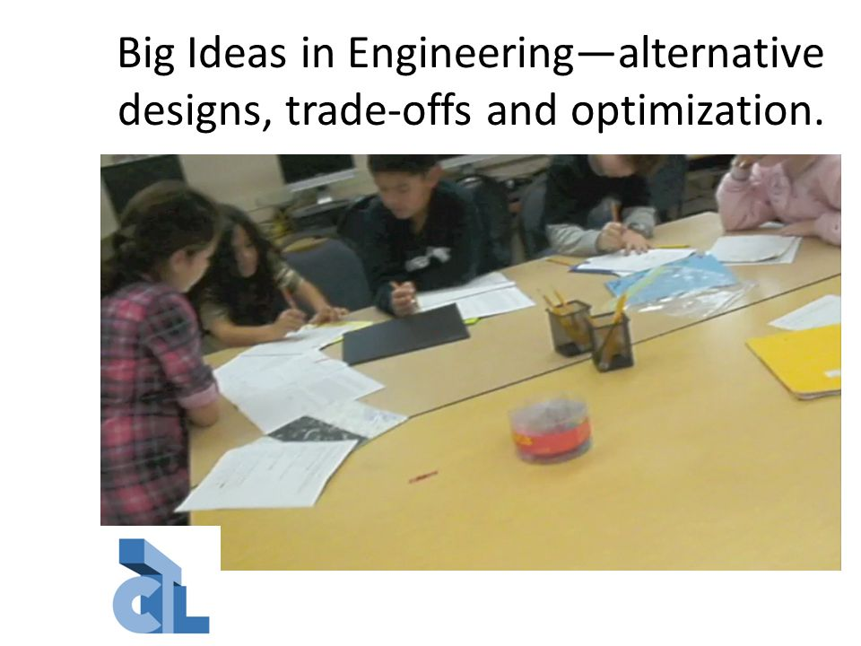 Big Ideas in Engineering—alternative designs, trade-offs and optimization.