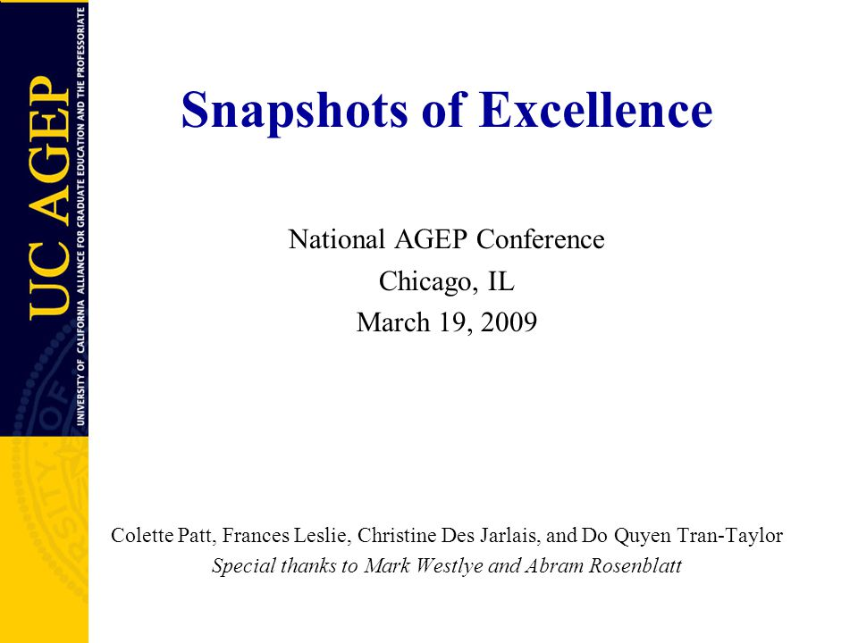 Snapshots of Excellence National AGEP Conference Chicago, IL March 19, 2009 Colette Patt, Frances Leslie, Christine Des Jarlais, and Do Quyen Tran-Taylor Special thanks to Mark Westlye and Abram Rosenblatt