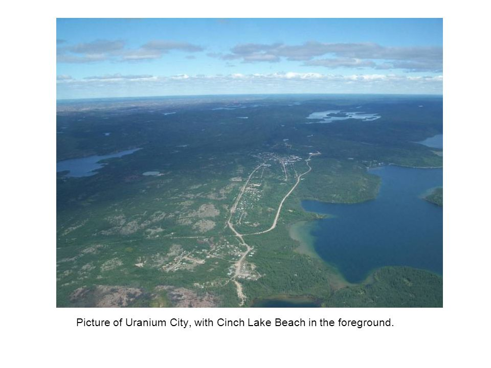 Picture of Uranium City, with Cinch Lake Beach in the foreground.