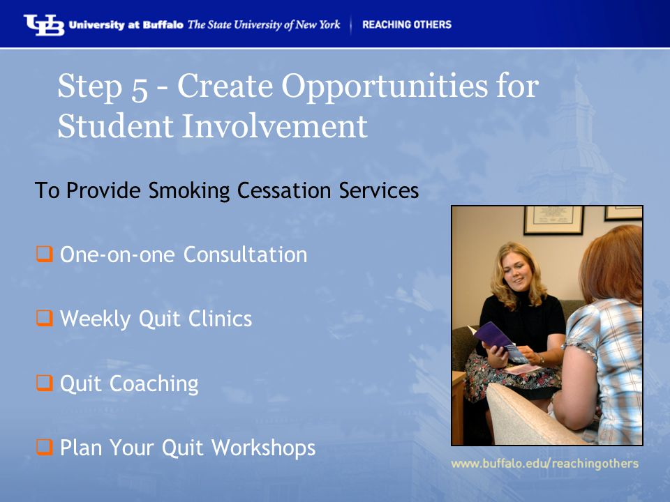 To Provide Smoking Cessation Services  One-on-one Consultation  Weekly Quit Clinics  Quit Coaching  Plan Your Quit Workshops Step 5 - Create Opportunities for Student Involvement