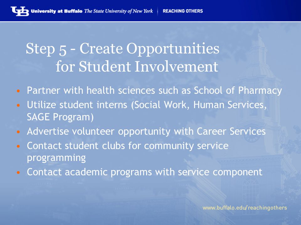 Partner with health sciences such as School of Pharmacy Utilize student interns (Social Work, Human Services, SAGE Program) Advertise volunteer opportunity with Career Services Contact student clubs for community service programming Contact academic programs with service component