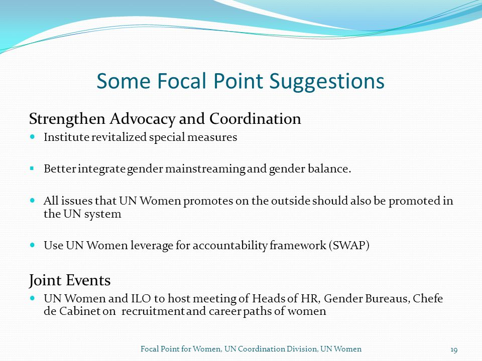 Some Focal Point Suggestions Strengthen Advocacy and Coordination Institute revitalized special measures  Better integrate gender mainstreaming and gender balance.