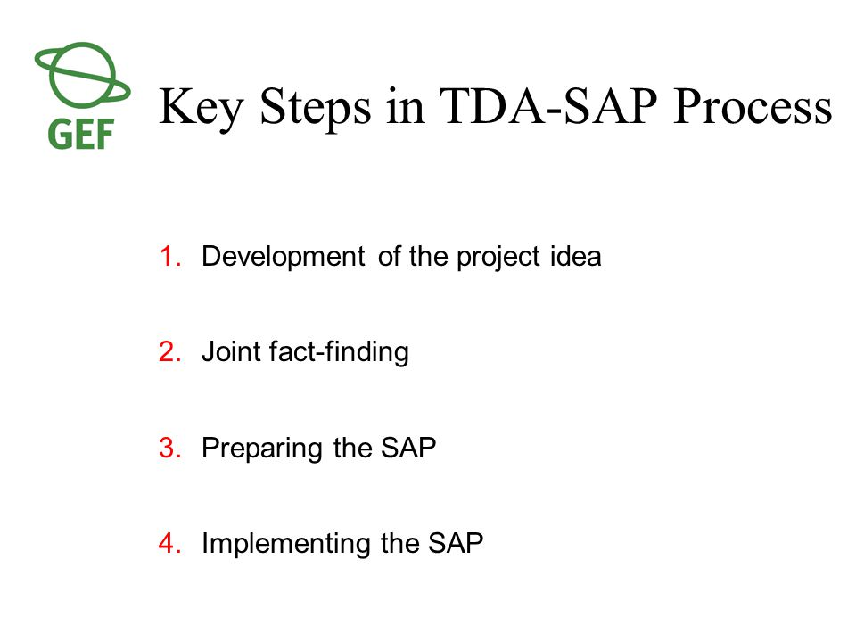 Key Steps in TDA-SAP Process 1.Development of the project idea 2.Joint fact-finding 3.Preparing the SAP 4.Implementing the SAP