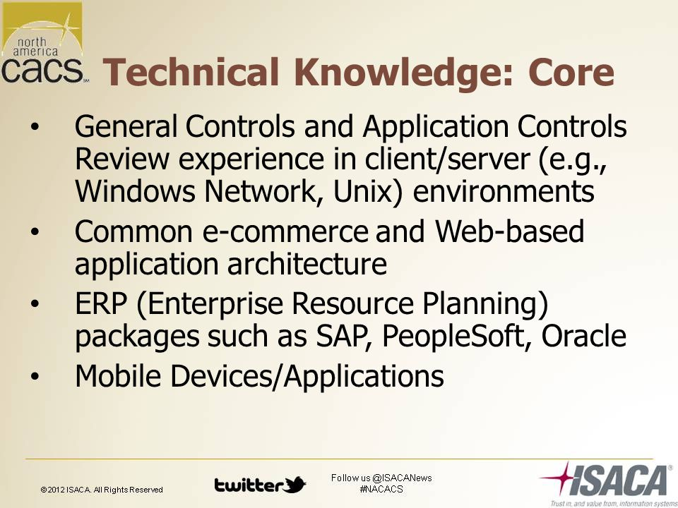 Technical Knowledge: Core General Controls and Application Controls Review experience in client/server (e.g., Windows Network, Unix) environments Common e-commerce and Web-based application architecture ERP (Enterprise Resource Planning) packages such as SAP, PeopleSoft, Oracle Mobile Devices/Applications