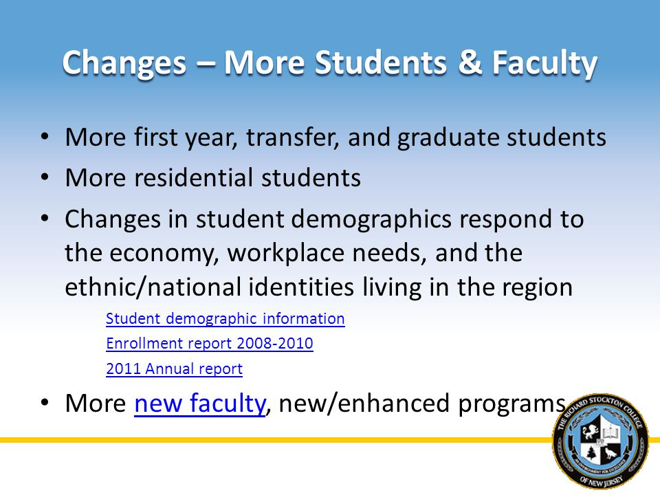 Changes – More Students & Faculty More first year, transfer, and graduate students More residential students Changes in student demographics respond to the economy, workplace needs, and the ethnic/national identities living in the region Student demographic information Enrollment report 2008-2010 2011 Annual report More new faculty, new/enhanced programsnew faculty