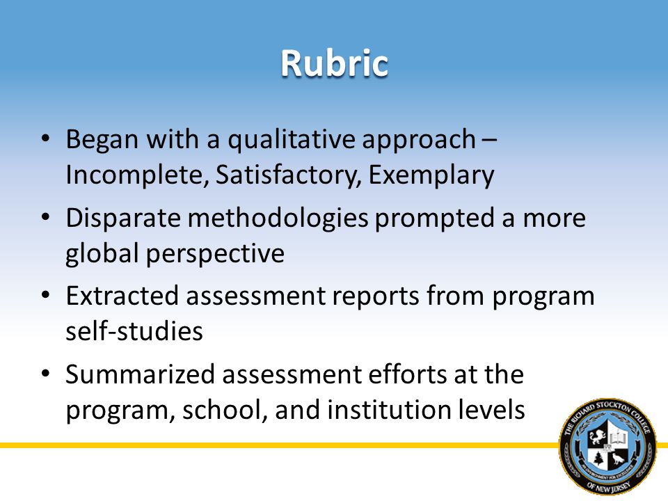 Rubric Began with a qualitative approach – Incomplete, Satisfactory, Exemplary Disparate methodologies prompted a more global perspective Extracted assessment reports from program self-studies Summarized assessment efforts at the program, school, and institution levels