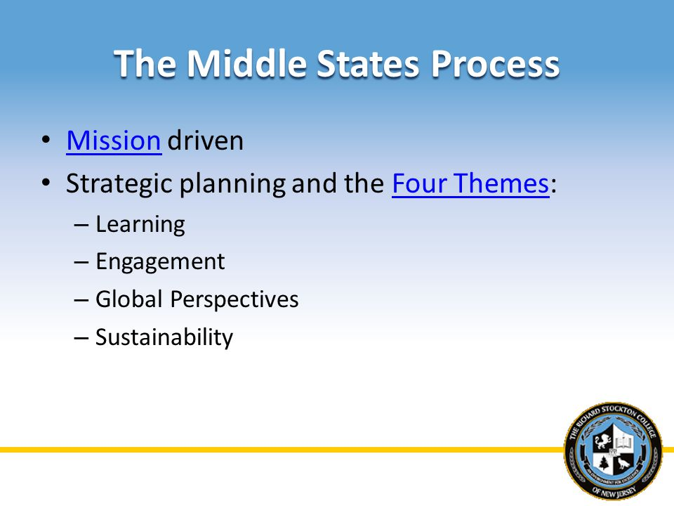 The Middle States Process Mission driven Mission Strategic planning and the Four Themes:Four Themes – Learning – Engagement – Global Perspectives – Sustainability