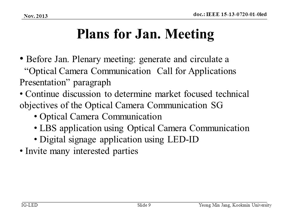 doc.: IEEE vlc IG-LED Plans for Jan.