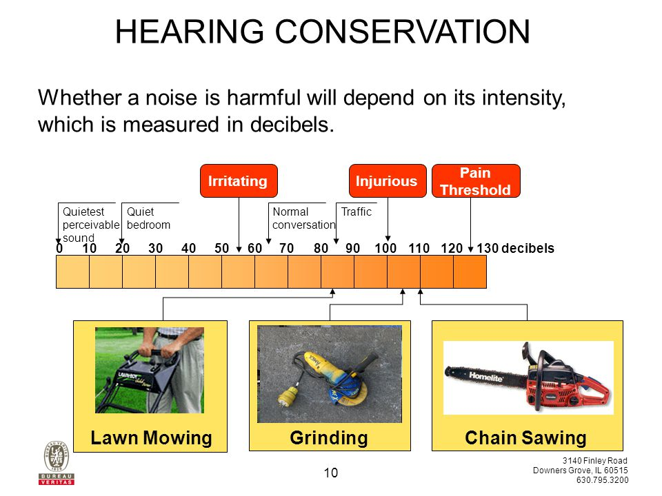 3140 Finley Road Downers Grove, IL 60515 630.795.3200 10 Whether a noise is harmful will depend on its intensity, which is measured in decibels.