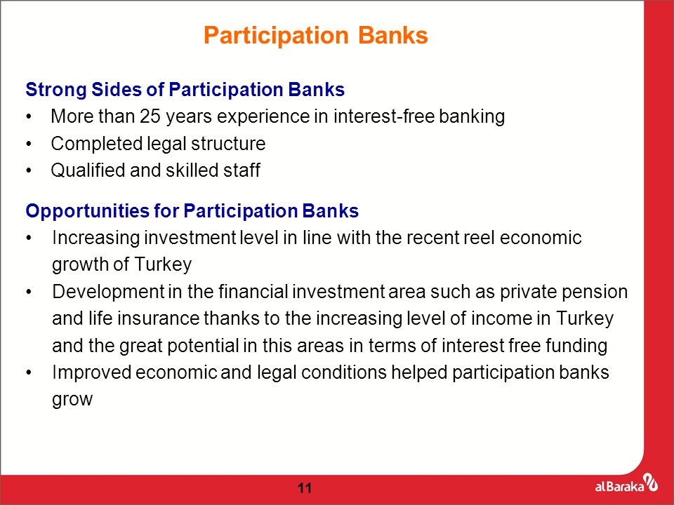 11 Participation Banks Strong Sides of Participation Banks More than 25 years experience in interest-free banking Completed legal structure Qualified and skilled staff Opportunities for Participation Banks Increasing investment level in line with the recent reel economic growth of Turkey Development in the financial investment area such as private pension and life insurance thanks to the increasing level of income in Turkey and the great potential in this areas in terms of interest free funding Improved economic and legal conditions helped participation banks grow