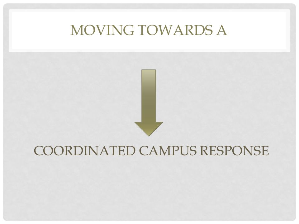 MOVING TOWARDS A COORDINATED CAMPUS RESPONSE