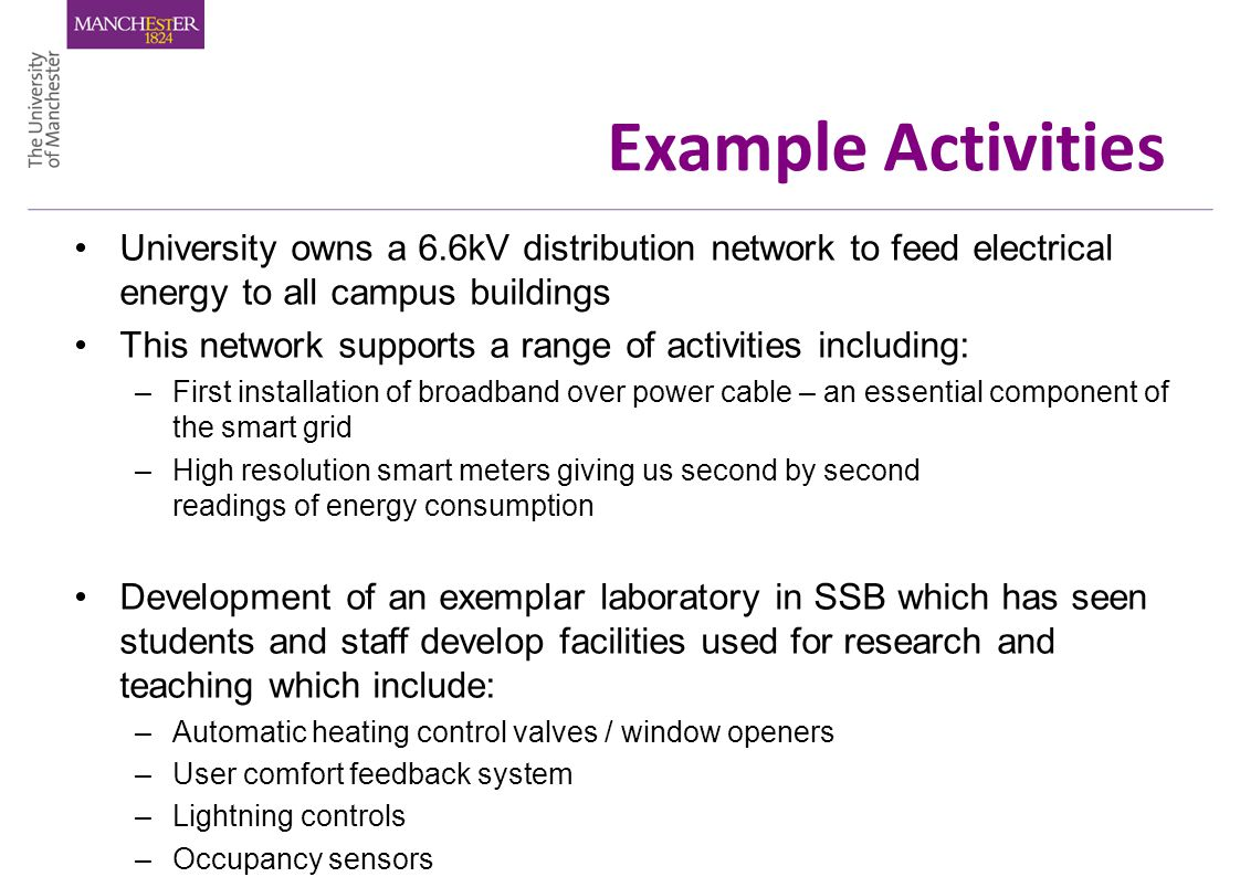 Example Activities University owns a 6.6kV distribution network to feed electrical energy to all campus buildings This network supports a range of activities including: –First installation of broadband over power cable – an essential component of the smart grid –High resolution smart meters giving us second by second readings of energy consumption Development of an exemplar laboratory in SSB which has seen students and staff develop facilities used for research and teaching which include: –Automatic heating control valves / window openers –User comfort feedback system –Lightning controls –Occupancy sensors